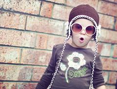 She thinks she's so cool (greenwatermelon) Tags: brown flower brick hat sunglasses dream 50mmf14 d90 thebackofourfireplace newspotforphototaking