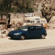 Just discovered, Bob Waldmires VW Squareback! Way back there^^^ (john4kc) Tags: arizona panorama bus station vw vintage desert 1996 az 66 gas route service generalstore visitorcenter 96 hackberry bobwaldmire roadtrip1996