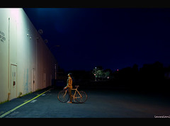 Dead End (lauralani) Tags: longexposure cinema girl bicycle night alone cyclist canon20d hipster ambient 365 ridgecrest lauradeangelis lauralani flannelsarehipright