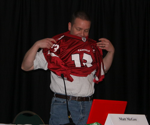 Matt McGee wearing a Cardinals Jersey