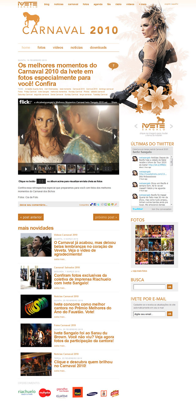 Galeria de Fotos - Hotsite Carnaval 2010 - Tema Cavalo