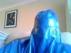 Stern Faced Burqa (latexladyll) Tags: blue fetish veil rubber latex submission burqa silenced gagged enclosure bdsmlifestyle