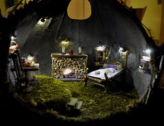 Fairy House at Night (Torisaur) Tags: scale fairy gourd 12 fairyhouse fairyfurniture