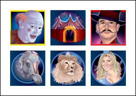 free Flying Circus slot game symbols