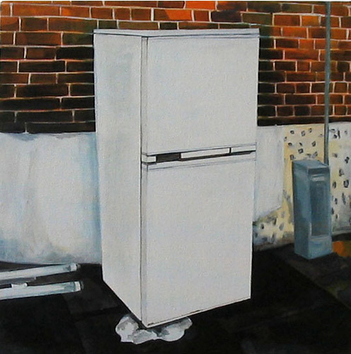 Fridge/Freezer, Acrylic on Canvas, 31cm x 31cm by Robin Clare