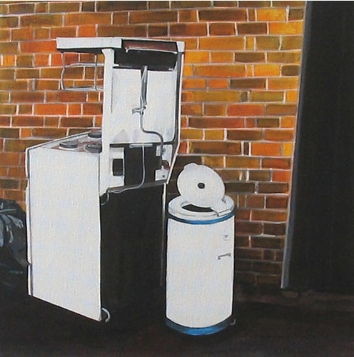 Stove and Bin in Alley, Acrylic on Canvas, 31cm x 31cm by Robin Clare