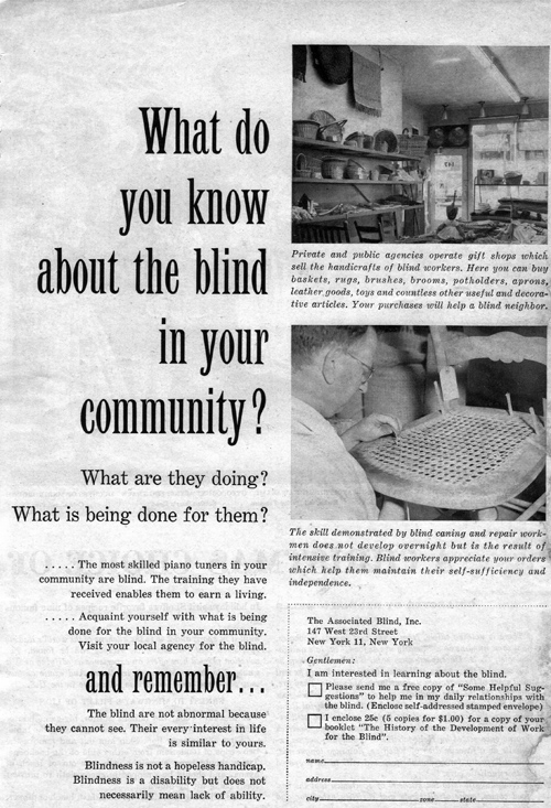 Vintage Ad #1,073: What do you know about the blind in your community?