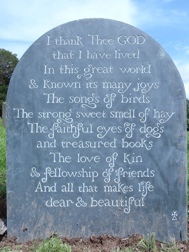 Prayer on back of gravestone.