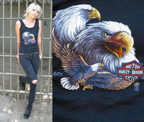 black eagle harley harleydavidson tanktop lacetrim bikervintagecastawayvintagecastawayvintagetopshirtsleeveless