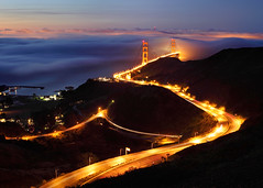 Golden Gate Bridge from Coastal Ridge Trail (Rob Kroenert) Tags: sanfrancisco california ca morning bridge usa fog sunrise dawn golden highway gate san francisco long exposure marin low ridge trail 101 coastal goldengatebridge headlands marinheadlands coastalridgetrail