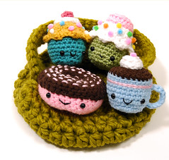 set with basket (callie callie jump jump) Tags: set burlington dessert cupcakes stuffed vermont handmade crochet plush yarn donut kawaii sweets etsy fiber amigurumi hotcocoa stuffie urbanfarmgirl erinnsimon