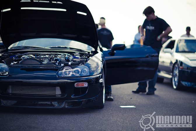 A Supra awaits its turn for the Dyno pass.