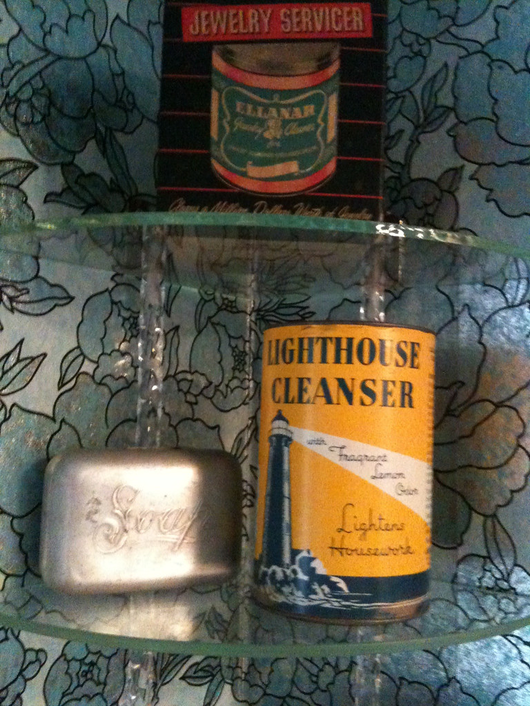 Glass Shelf in Bathroom w/ Vintage Cleaning Products