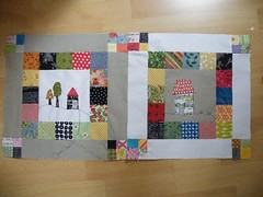 My first blocks ... (monaw2008) Tags: house tree square handmade block applique quiltblock pieced monaw monaw2008 eurobeeblock