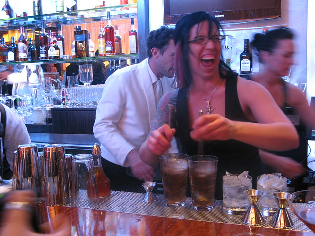 Mixologist Misty having fun at First & Hope's last Red Rover event by Caroline on Crack