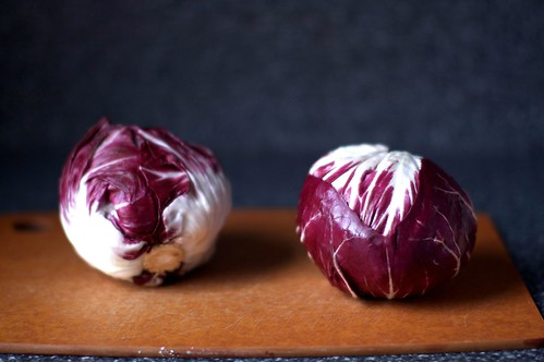 two heads of radicchio
