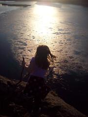 Sun, pond, girl