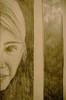 girl (wardnek) Tags: portrait eye girl smile face pencil dark child drawing small hidden half graphite