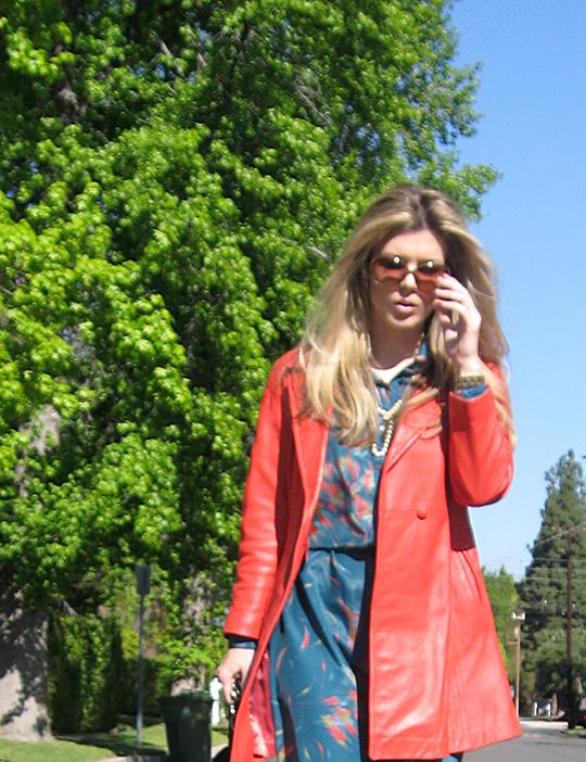 coral red leather vintage coat 70s shirt dress -5 darker