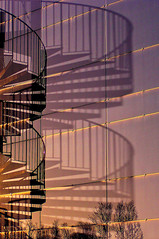 Reflection and Shadow - Spiral Staircase (Canadapt) Tags: sunset shadow reflection norway wall spiralstaircase tromso vanagram canadapt bestcapturesaoi