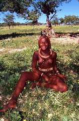 Young Himba Woman Sitting in Grass (Peter Schnurman) Tags: africa people girl african culture tribal safari afrika tribe ethnic namibia tribo himba afrique ethnology tribu opuwo namibie tribus ethnie