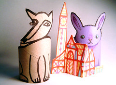 Bunny and wolf (maralina!) Tags: cute rabbit bunny art animal illustration fairytale paper 3d wolf doll acrylic purple handmade crafts character lavender craft jeunesse homemade childrens loup recycle tp papier lapin toiletpaperroll acrylique poupe personnage threedimensional threed recup papiertoilette contedefe