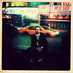 "52 Weeks of ""The One I Love"" (31): Back in NYC (Sion+Anton) Tags: nyc newyorkcity portrait sittingdown broadway squareformat timessquare theatres westsidestory 500x500 yellowtaxicab guestsuites sionfullana ©antonkawasaki iphone3gs beardedgaymalewithglasses hipstmaticappjohnslensinas1969film swankolabappflamozfixer contemplatinghisnextshot 52weeksoftheoneilove31backinnyc"