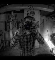selfie ((c.jones)) Tags: portrait urban bw detail reflection canon graffiti mirror decay tag fisheye abandon shroom hdr urbex