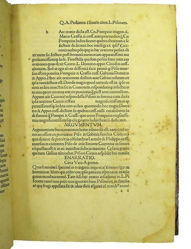 Opening page of main text from Asconius Pedianus, Quintus: Commentarii in orationes Ciceronis