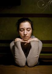 Sister (AnkhaiStenn) Tags: light portrait woman girl bar night dark table estonia russia sister petersburg russian eesti