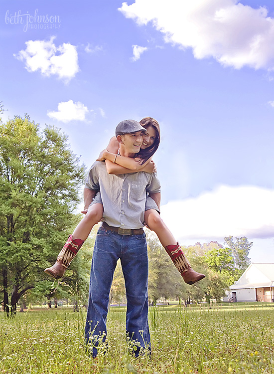 piggyback ride engagement photo
