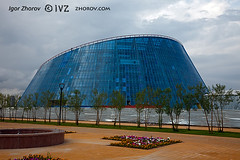 Glass building. (i_zhorov) Tags: life city blue summer sky urban cloud reflection tree glass horizontal architecture buildings outdoors design office construction cityscape exterior place contemporary low nobody scene structure futuristic built feature