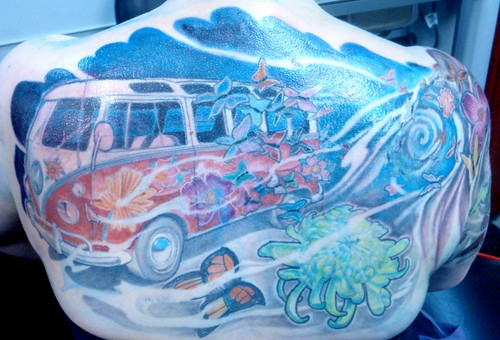 vw tattoo, volkswagon van tattoo, hippy tattoo, chrysanthemum tattoo