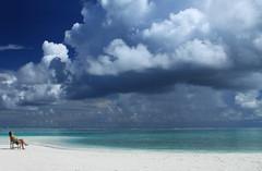 [フリー画像] 人物, 人と風景, 自然・風景, 海, ビーチ・砂浜, モルディブ共和国, 201005050700