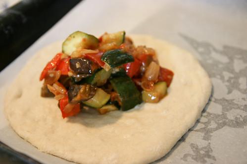 Making Fougasse: Ratatoulli stuffing
