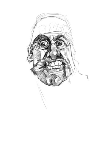 digital sketch of Hulk Hogan - 2