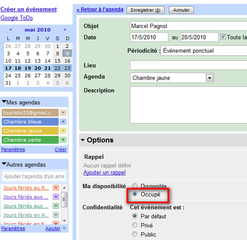 Google agenda statut occupé