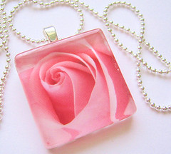 Coming Up Roses Pendant (Migoto Chou) Tags: pink glass tile photo necklace jewelry charm pendant realistic