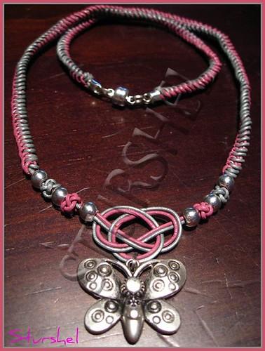 Collar Cuero Mariposa Silver&Pink