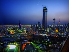 Kuwait City from a-high (maistora) Tags: street city pink blue sunset shadow panorama detail reflection tower glass skyscraper observation landscape evening twilight construction cityscape view darkness purple traffic horizon towers sphere getty bluehour kuwait presence liberation telecom kuwaitcity topaz hamra alhamra kuwaittowers denoise topazlabs maistora platinumphoto