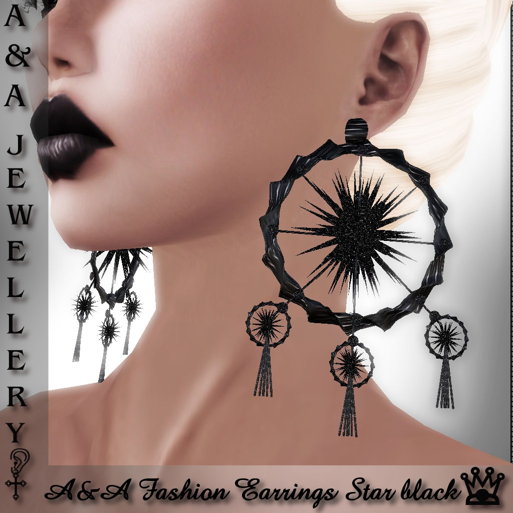 A&A Fashion Earrings Star Black