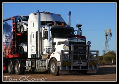 Redstar Car Carriers (Tom O'Connor.) Tags: windmill up car breakfast truck one highway pix fuji nt alice south north fine under australia down double stuart springs land adelaide outback trucks parked sa northern heading trucking territory truckers redstar kenworth brekky carriers t904 glendambo s5700