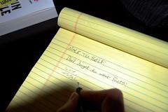 Day 137/365 May 17, 2010 (Tyler Silva Photography) Tags: me yellow tyler note 365 silva notepad handwritting tylersilva fgr dontforgettowearpants