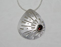 """""""Lace"""" Silver Necklace (EfratJewelry) Tags: silver necklace handmade jewelry jewellery sterling gems pendant 925 garnet gemstones silversmith metalsmith sterlingsilver    semipreciousstones       efratjewelry"""