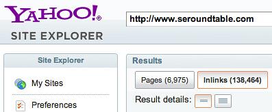 Yahoo Site Explorer Link Drop