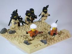 Run Away (2) (*Nobodycares*) Tags: sand desert ak rpg guns insurgents moc brickarms legolego terrorrists