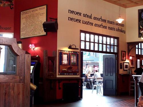 Northwestern wall in O'Neill's pub