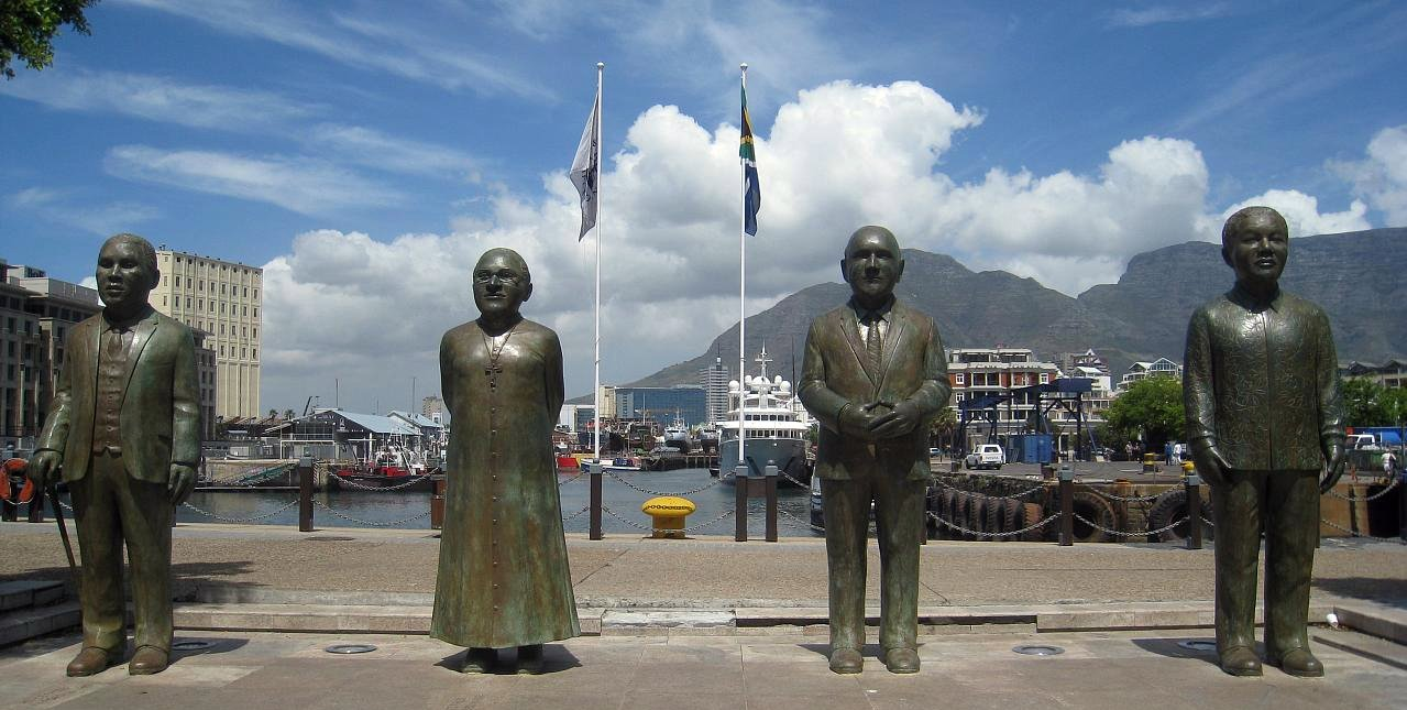 Nobel Square at the V&A Waterfront in Cape Town features South Africa's 4 Nobel Prize winners. From left: Chief Albert Luthuli, Archbishop Desmond Tutu, former presidents FW de Klerk and Nelson Mandela.
