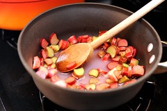 stewing the rhubarb