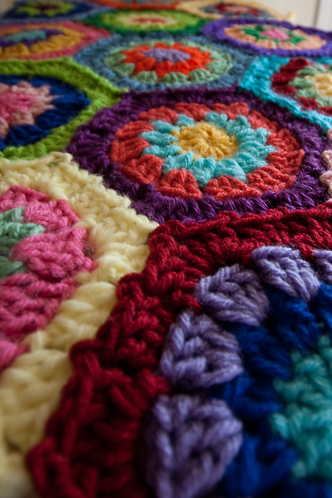 Flower Garden Hexagon Afghan